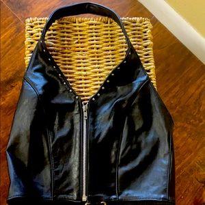 Genuine Leather Halter Top